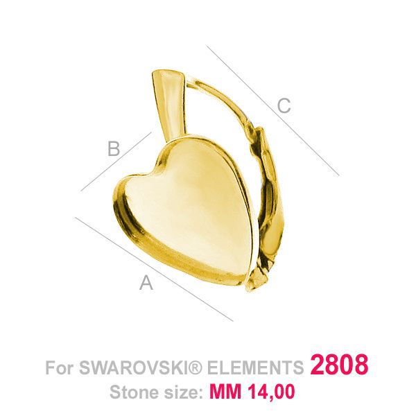 Miseczka serce baza kolczyki Swarovski HKSV 2808 14MM BA