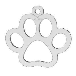 Zawieszka psia łapa, ze srebra próby 925, LK-0365