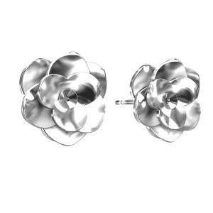 Kolczyki róże baza do Swarovskiego, ze srebra 925, ODL-00041 KLS