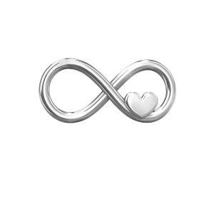 Zawieszka łącznik - znak nieskończoności - serce*srebro AG 925*ODL-00082 7,6x16,3 mm