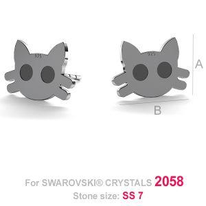 Kot kolczyki sztyft (2058 SS 7) - LK-0