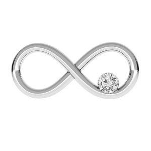 Zawieszka łącznik - znak nieskończoności z kryształami Swarovskiego*srebro AG 925*ODL-00154 ver.2 7,7x16 mm