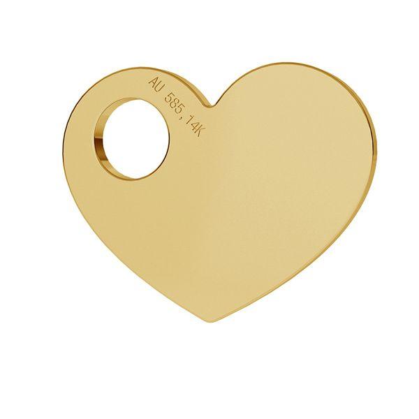 Serce blaszka celebrytka złoto 14K LKZ-00014 - 0,30 mm