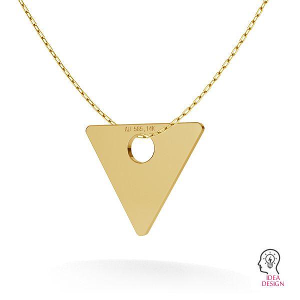 Trójkąt blaszka celebrytka złoto 14K LKZ-00016 - 0,30 mm