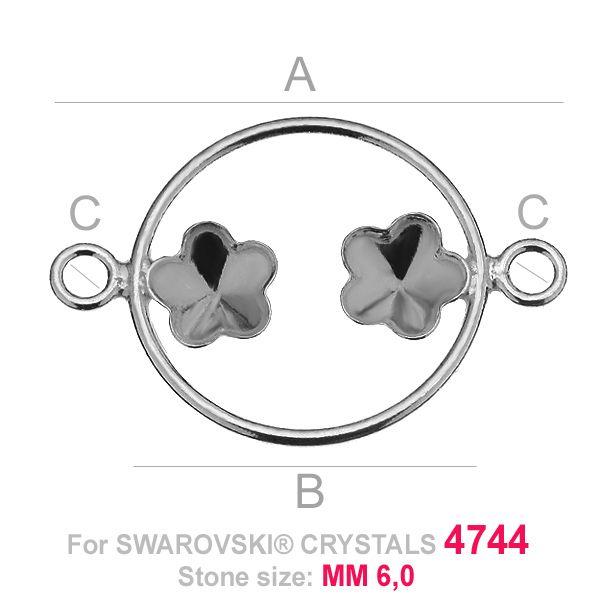 Dwa kwiatki 6mm w kółku baza Swarovski FKSV 4744 MM 6+6 CON1 KCL 0,9x2,0