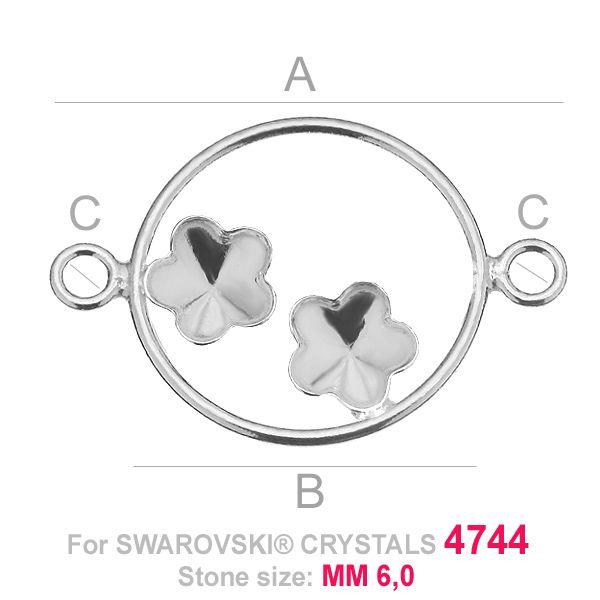 Dwa kwiatki 6mm w kółku baza łacznik Swarovski FKSV FKSV 4744 MM 6+6 CON2 KCL 0,9x2,0 ver.1