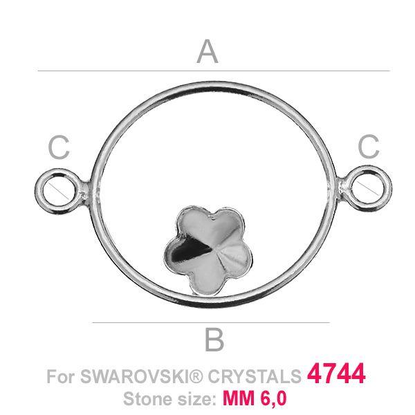 Kwiatek 6mm w kółku baza łacznik Swarovski FKSV FKSV 4744 MM 6 CON2 KCL 0,9x2,0 ver.4