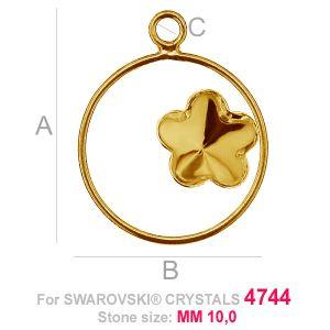 Kwiatek 10mm w kółku baza Swarovski FKSV 4744 MM 10 CON1 KCL 0,9x2,0