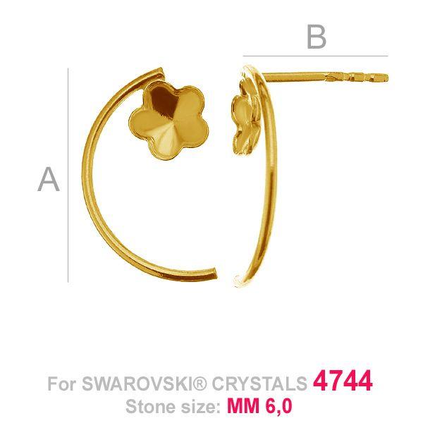 Kwiatek 6mm z rurką kolczyki baza Swarovski FKSV 4744 MM 6 KLS ver. 2
