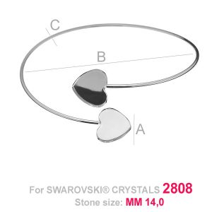 Wsuwana sztywna bransoleta (baza) serce HKSV 2808 2x14 MM SBR