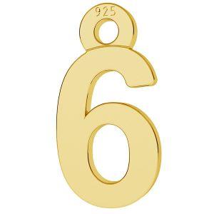 Cyfra liczba 6 srebro przywieszka, LK-0711 - 0,50