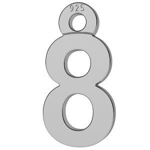 Cyfra liczba 8 srebro przywieszka, LK-0713 - 0,50