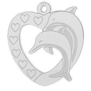 Serce z delfinem zawieszka, LK-0780 - 0,50