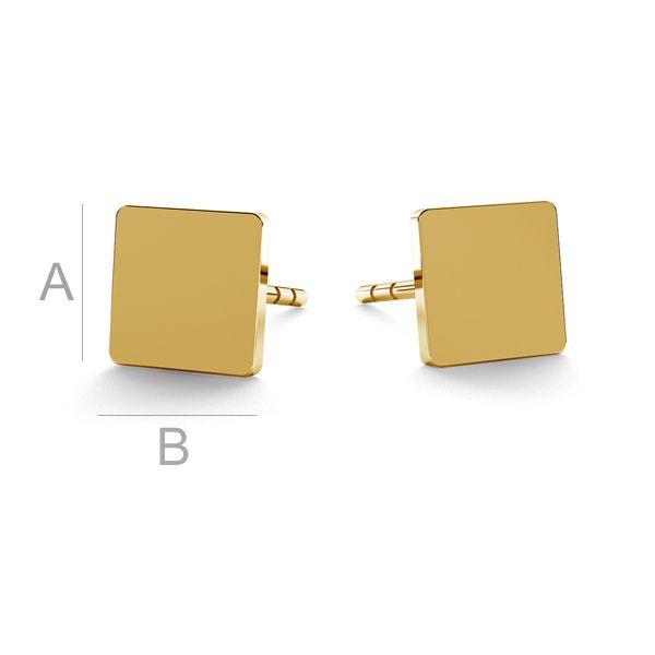 Kwadratowe blaszki kolczyki sztyft złoto 14K LKZ-00934 KLS - 0,30 mm