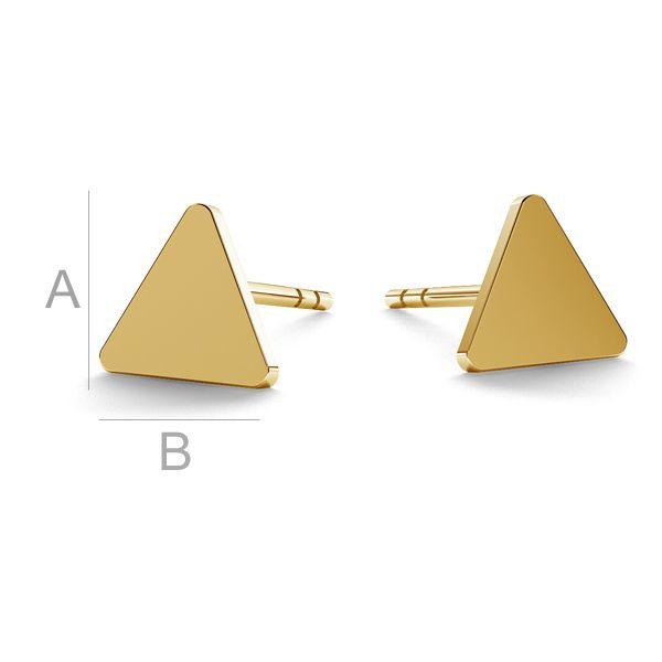 Kolczyki blaszki trójkąty sztyft złoto 14 KLKZ-00935 KLS - 0,30 mm