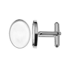 Spinka do mankietu z owalną miseczką do żywicy*srebro AG 925*CUFF FMG 13x18 mm