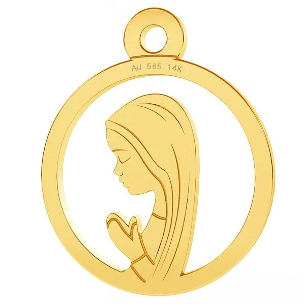 Złoty medalik Matka Boska Fatimska, złoto próby 585 14K, LKZ-00661 - 0,30