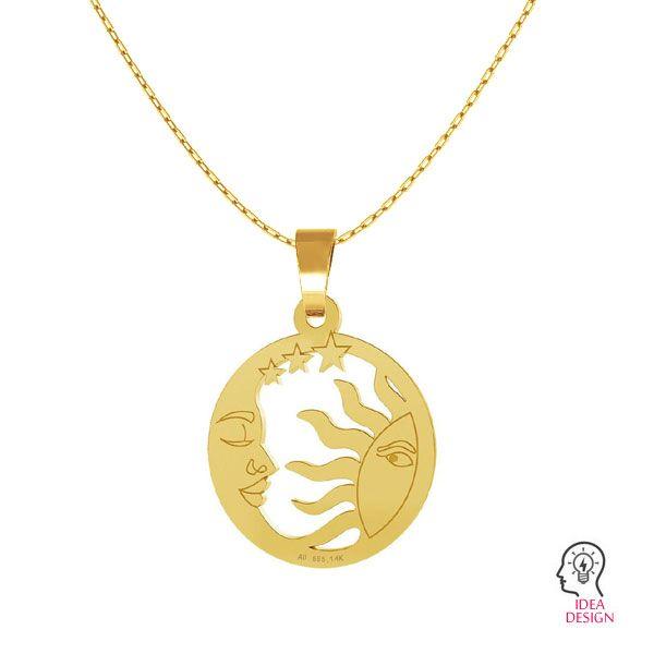 Zawieszka słońce i księżyc, złoto 14K, LKZ-00662 - 0,30