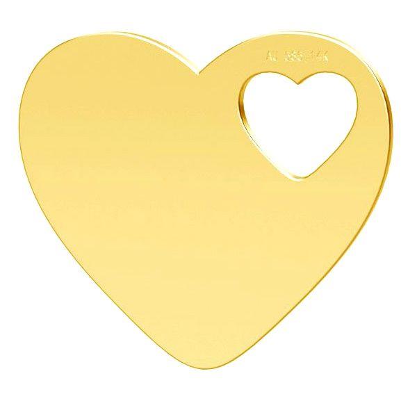 Zawieszka dwa serca, złoto 14K, LKZ-01304 - 0,30