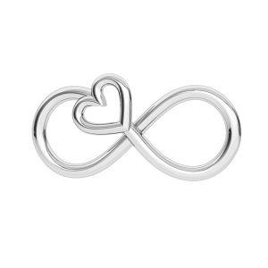 Znak nieskończoności z sercem zawieszka, srebro 925, ODL-00332