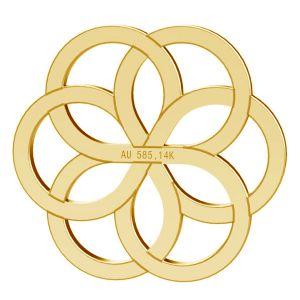 Zawieszka rozeta kwiat, ze złota próby 585 14K, LKZ-00029 - 0,30