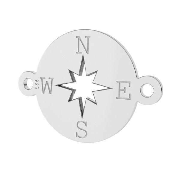 Zawieszka łącznik kompas, róża wiatrów, ze srebra próby 925, LK-1318 - 0,50