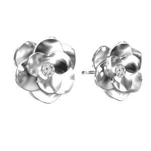 Kolczyki róże ze Swarovskim, srebro 925, ODL-00041 KLS - CRYSTAL