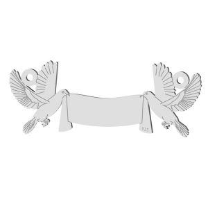 Ślubna zawieszka łącznik z gołębiami, srebro próby 925, LK-1366 - 0,50