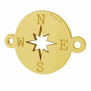 Zawieszka łącznik kompas, róża wiatrów, ze złota próby 585, LKZ-01318 - 0,30