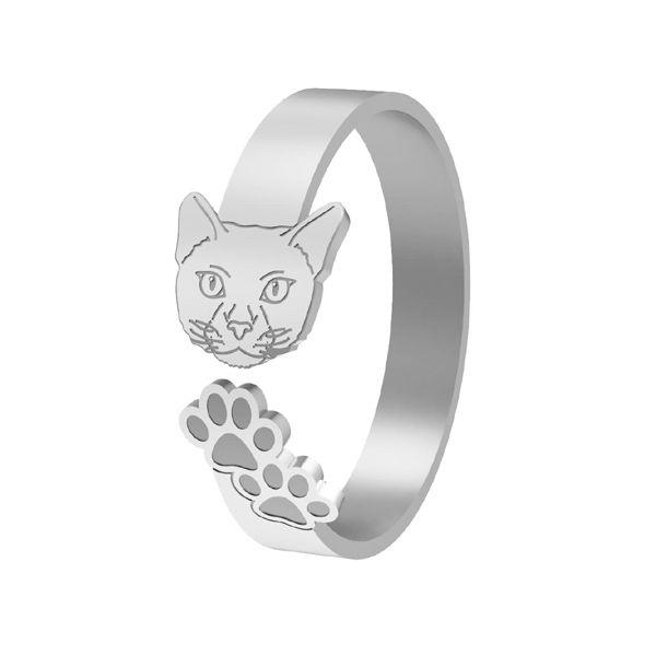 Pierścionek kot, ze srebra próby 925, LK-1402 - 0,50