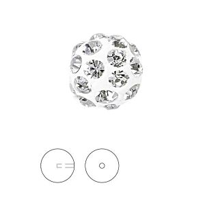 Biały Discoball 8 mm z jednym otworem, 86301 MM 8,0 01 001