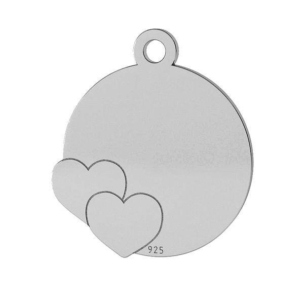 Blaszka z sercami zawieszka, srebro próby 925, LK-1468 - 0,50