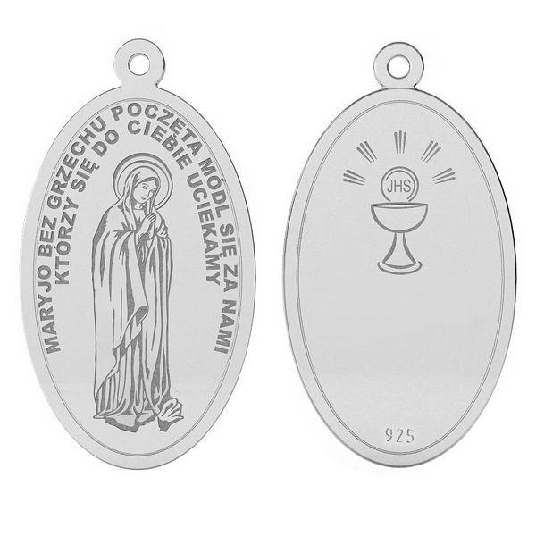 Srebrny medalik z Matka Boską, srebro próby 925, LK-1487 - 0,50