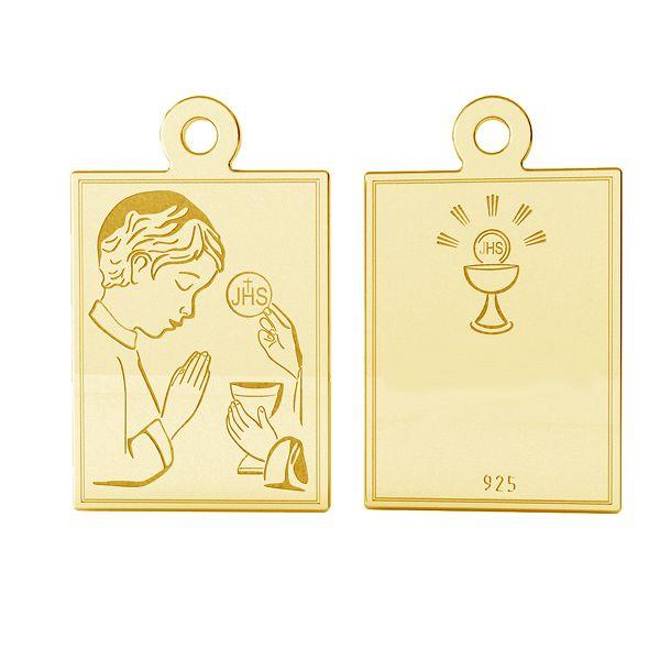 Srebrny medalik dla chłopczyka na Komunię, srebro próby 925, LK-1489 - 0,50