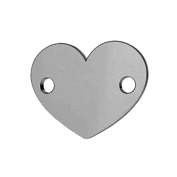 Łącznik blaszka serce ze srebra próby 925, LK-0462 - 0,80