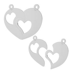 Łamane serce zawieszka, srebro próby 925, LKM-2046