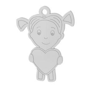 Dziewczynka serce zawieszka, srebrov925, LKM-2047