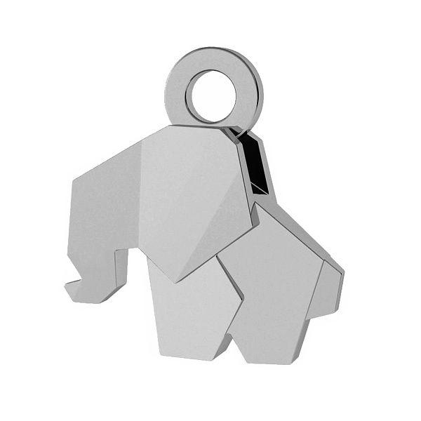 Słoń origami zawieszka, srebro 925, ODL-00433