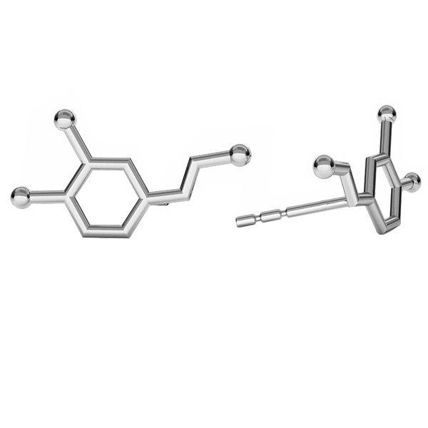 Dopamina wzór chemiczny kolczyki, srebro 925, ODL-00462