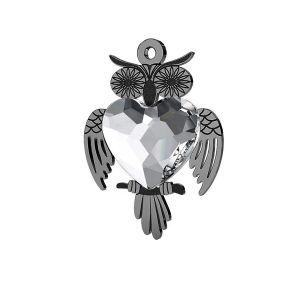 Zawieszka sowa z kryształem Swarovskiego serce 10 mm, srebro 925, LK-0433 ver.2