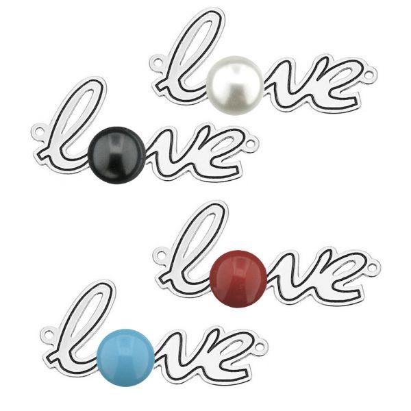Zawieszka łącznik napis LOVE z perłą Swarovskiego, ze srebra 925, LASER - LOVE ver.2