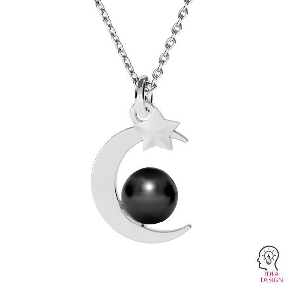 Zawieszka księżyc baza do pereł 8 mm, srebro 925, ODL-00470 (5818 MM 8)