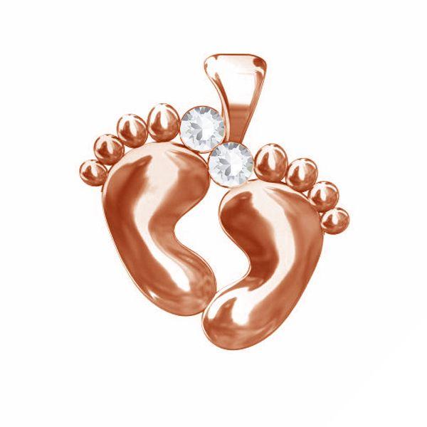 Zawieszka stopki dziecka z kryształem Swarovskiego, srebro 925, ODL-00067 ver.2