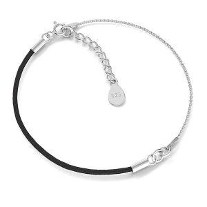 Czarny sznurek i łańcuszek, baza do bransoletek, srebro próby 925, S-BRACELET 12