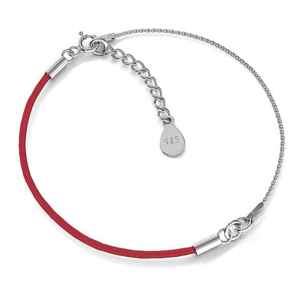 Czerwony sznurek i łańcuszek, baza do bransoletek, srebro próby 925, S-BRACELET 12