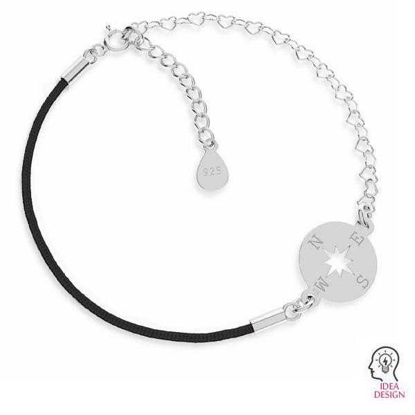 Czarny sznurek i łańcuszek serce, baza do bransoletek, srebro próby 925, S-BRACELET 13