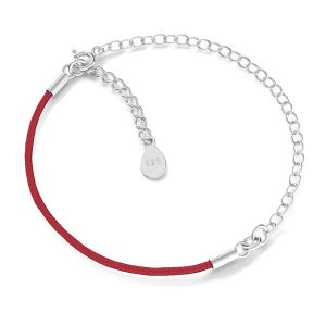 Czerwony sznurek i łańcuszek anker, baza do bransoletek, srebro próby 925, S-BRACELET 14