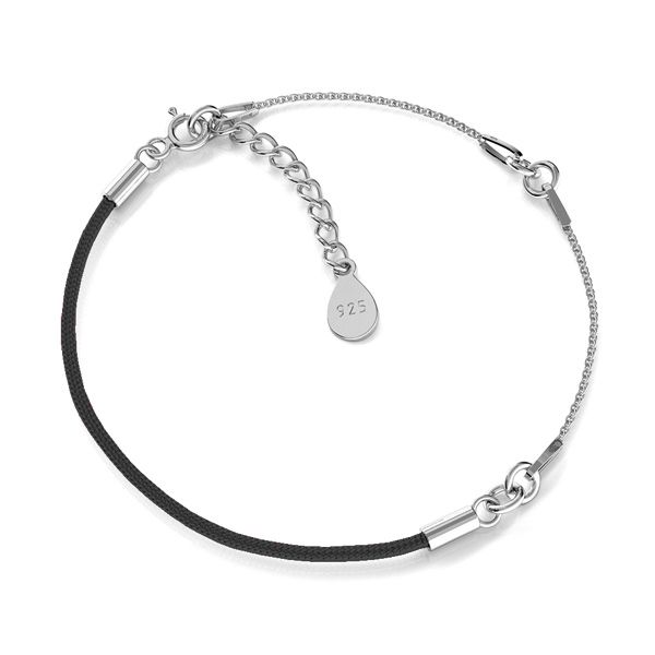 Czarny sznurek i łańcuszek, baza do bransoletek, srebro 925, S-BRACELET 15