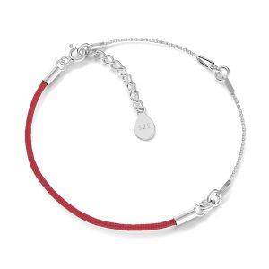 Czerwony sznurek i łańcuszek, baza do bransoletek z dwoma blaszkami, srebro 925, S-BRACELET 15 (RED)