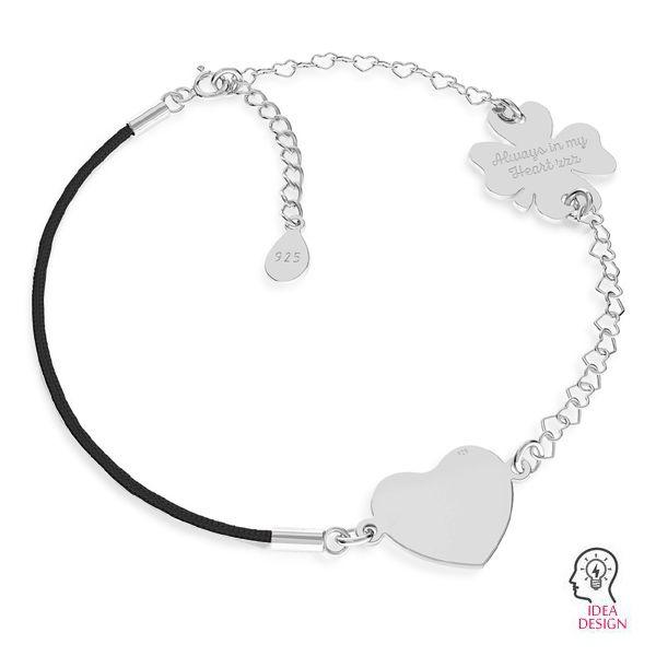 Czarny sznurek i łańcuszek serce, baza do bransoletek z dwoma blaszkami, srebro 925, S-BRACELET 16 (BLACK)
